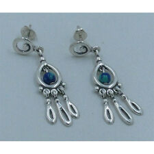 .925 Sterling Silver Natural Blue Green Azurite Post Earrings