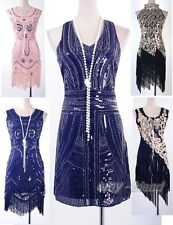1920's Flapper Dress Clubwear Great Gatsby Sequin Tassel Black Gold AF 3225 White One Size