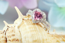 2Ct Heart Cut Gorgeous Pink Sapphire Halo Engagement Ring 14K White Gold Finish
