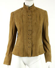 RALPH LAUREN BLACK LABEL Whiskey Tan Suede Button-Front Military Jacket 10