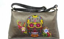 Sugar Skull CHL Hobo Purse Pewter with Embroidery Accents New Shoulder Handbag