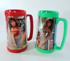 Snap-on Tools Pin Up Girls Thermo-Serv Mugs Pair 1991 Brandi Other Red Green 2