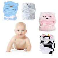 Cute Soft Animal Cartoon Baby Kid's Hooded Bathrobe Toddler Bath Towel #P