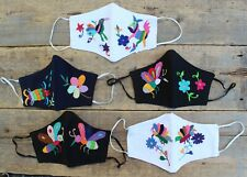Face Mask Otomi 5 Designs Hand Embroidered Reusable Poly Cotton Blend Mexico