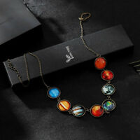 Pendant Solar System Eight Planets Creative Glass  Necklace Jewelry Chain Gift