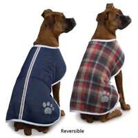 BeGood Nor'Easter Blanket Coat DOG Puppy VEST JACKET Reversible Navy Plaid Med