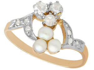 0.30 ct Diamond and Pearl 18Carat Rose Gold Cocktail Ring - Antique - Size L 1/2