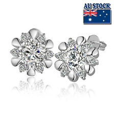 18K White Gold Filled 13mm Stud Flower Earrings With SWAROVSKI CRYSTAL