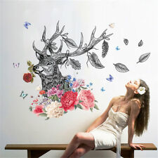 Deer Head Flowers Room Home Decor Removable Wall Sticker Decal Decoration