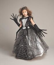Girls Size 8 Spider Queen Chasing Fireflies Witch Costume Dress Crown Gloves