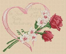 Ruby Wedding Anniversary red roses & orchids  Cross stitch chart FlowerPower37