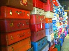 VINTAGE RETRO YELLOW ORANGE BLUE RED PINK PURPLE MAKEUP TRAIN SUITCASE LUGGAGE