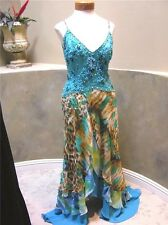 SUE WONG SILK prom pageant turquoise animal print beaded long Hi LOW Dress 6