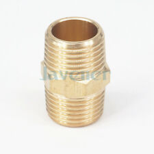 """1/2"""" NPT x 1/2"""" NPT Male Hex Nipple Brass Pipe Fitting Connector 229 PSI"""