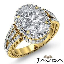Halo Prong Set Oval Diamond Unique Engagement Ring GIA F VS1 18k Yellow Gold 4ct