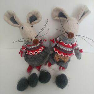 Mr & Mrs MOUSE fabric sitting mice CHRISTMAS DECORATIONS shelf ornament 30cm