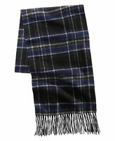 Club Room Mens Scarf Blue Black One Size Plaid Knit Fringe Cashmere $120 281