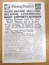WW2 Newspaper May 10 1940 Holland Belgium Invaded Churchill Evening Standard WAR