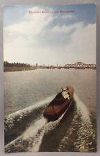 c 1910 WOODEN SPEED BOAT Vacation Days MISSISSIPPI River Bridge Postcard Antique