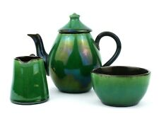 Early 20th C. Bachelors Tea Set Green Iridescent Glaze 3 Pieces West Country