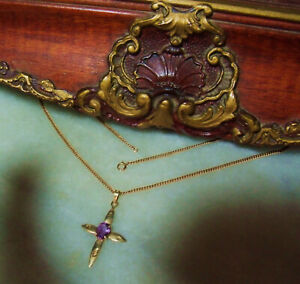 Art Deco Era Vintage 10k Gold Amethyst Cross Necklace