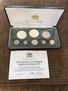 1974 Trinidad and Tobago Proof 8-Coin Set With COA