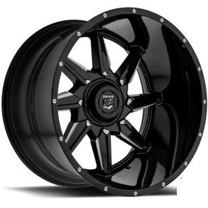 """4-Gear 751BM Wrath 20x12 6x135/6x5.5"""" -44mm Black/Milled Wheels Rims 20"""" Inch"""