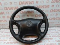 MERCEDES BENZ C CLASS W203 2001-2007 LEATHER STEERING WHEEL & AIR SRS SAFETY BAG