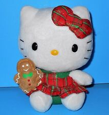 Adorable Christmas Plaid Dress n Gingerbread Man Hello Kitty Sanrio Ty Plush 6""