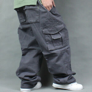 2020 Men's Plus Size Overalls Outdoor Sports Loose Trousers Casual Pockets
