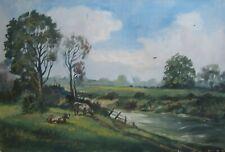 Peinture à L'Huile ° Bach Vaches Pâturage Paysages Bovins Botanique °