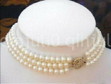 Natural 3 Rows 7-8MM White Cultured Pearl Choker Necklaces