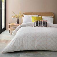ORLA KIELY LINEAR STEM PINK WHITE DOUBLE DUVET COVER 3 PIECE BEDDING SET