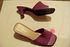 womens naturalizer purple leather square toe band heels shoes size 7 1/2