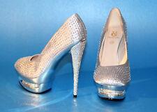 NEU Giaro High Heel 14cm Plateau Schuhe Pumps Glitter silber Gr. 37