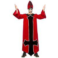 Adult Men's Evil Bishop Priest Religious Halloween Costume Robe Gown Hat S-2XL