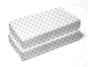 Zak & Zoey Gray Star Toddler Bed or Crib Sheets 2-Pack (100% Cotton)