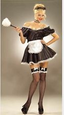 Womens Sexy French Maid Fancy Dress Costume M-L & Fishnet Stockings