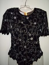 Laurence Kazar Black/Silver Beaded Top Blouse 100% Silk Floral Size PM VTG