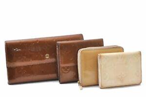 Louis Vuitton Vernis Wallet Coin Case Yellow Brown Cream 4Set LV A5494