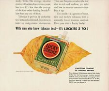 1940 Lucky Strike Cigarettes Vintage Print Ad Finer Tobacco Means Less Nicotine