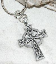 CELTIC CROSS WALES IRISH Pewter KEYCHAIN Key Chain Ring