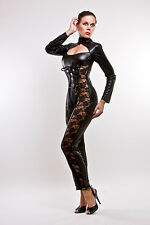 Catsuit Overall Gothic Lacquer/Latex Look With Lacing and Lace