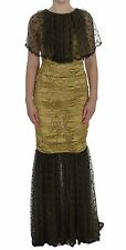 NWT DOLCE & GABBANA Dress Yellow Black Floral Lace Ricamo Gown IT40/US6/S