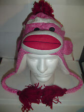 Original SOCK MONKEY HAT PINK BIG LIPS WINTER FLEECE LINED KNIT GIFT free Ship