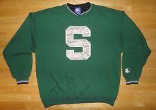 Vintage MICHIGAN STATE SPARTANS Green STARTER Big S Logo Sweatshirt - Adult Size