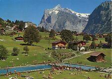 Alte Postkarte - Grindelwald - Gartenbad Hellbach mit Wetterhorn