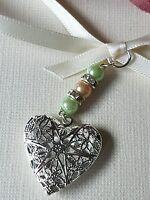 Bridal Memory Filigree Heart Bouquet Charm Silver Locket & Gift Bag