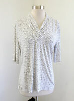 St John Womens Black White Heart Print Ruched Gathered Neck Blouse Top Size M
