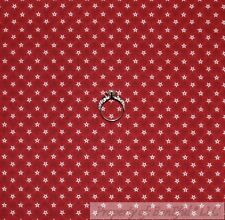 BonEful Fabric Cotton Quilt Maroon Red Small Little STAR Dot American Flag SCRAP